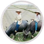 Boys On Water Buffalo In Countryside-vietnam Round Beach Towel