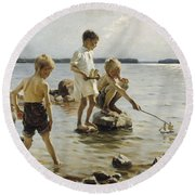 Boys Playing On The Shore Round Beach Towel