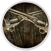 Brace Of Colt Navy Revolvers Round Beach Towel