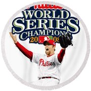 Brad Lidge Ws Champs Logo Round Beach Towel