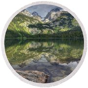 Bradley Lake Reflection - Grand Teton National Park Round Beach Towel