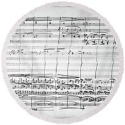 Brahms Manuscript, 1880 Round Beach Towel
