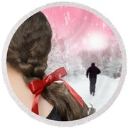 Braided Hair With Red Ribbon Round Beach Towel