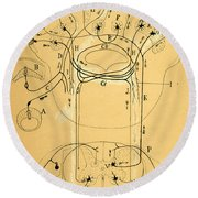 Brain Vestibular Sensor Connections By Cajal 1899 Round Beach Towel