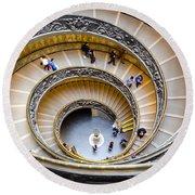 Bramante Spiral Staircase In Vatican City Round Beach Towel