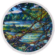 Brances Over The New River Round Beach Towel