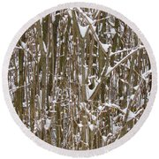 Branches And Twigs Covered In Fresh Snow Round Beach Towel