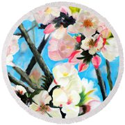 Branches Of Almond Tree Round Beach Towel