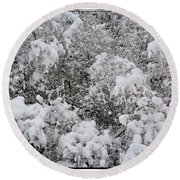 Branches Of Snow Round Beach Towel