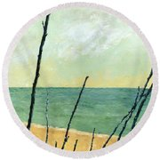 Branches On The Beach - Oil Round Beach Towel by Michelle Calkins