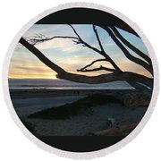 Branches Over The Beach Round Beach Towel