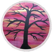 Branching Out Silhouette  Round Beach Towel