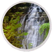 Brandywine Falls Of Cuyahoga Valley National Park Waterfall Water Fall Round Beach Towel