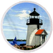 Brant Point Lighthouse Nantucket Massachusetts Round Beach Towel
