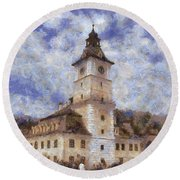 Brasov City Hall Round Beach Towel