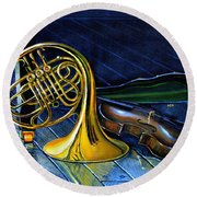 Brass And Strings Round Beach Towel