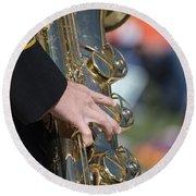 Brass Musical Instrument 01 Round Beach Towel