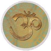 Gold Brass Om Mandala Round Beach Towel