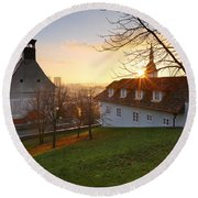 Bratislava From Castle Hill. Round Beach Towel