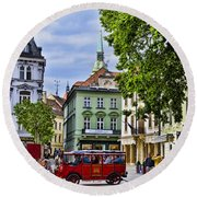 Bratislava Town Square Round Beach Towel by Jon Berghoff