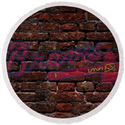Braves Baseball Graffiti On Brick  Round Beach Towel
