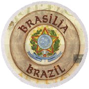 Brazil Coat Of Arms Round Beach Towel