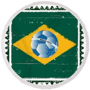 Brazil Flag Like Stamp In Grunge Style Round Beach Towel