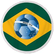 Brazil Flag With Ball Round Beach Towel