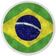 Brazil Flag Round Beach Towel