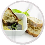 Bread Olive Oil And Vinegar Round Beach Towel