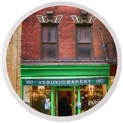 Bread Store New York City Round Beach Towel by Garry Gay