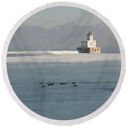 Break Wall And Light House Round Beach Towel