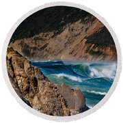 Breakers At Pt Reyes Round Beach Towel by Bill Gallagher