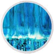 Breakers Off Point Reyes Original Painting Round Beach Towel