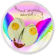Breakfast Art Round Beach Towel