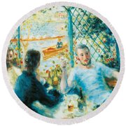 Breakfast By The River Round Beach Towel by Pierre-Auguste Renoir