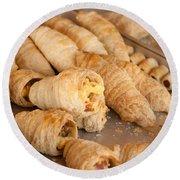 Breakfast Croissant Round Beach Towel