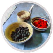 Breakfast In Red White And Blue Round Beach Towel