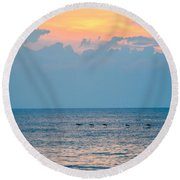 Breaking Blue  Round Beach Towel