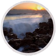 Breaking Dawn Round Beach Towel by Mike  Dawson