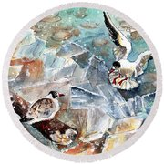 Breaking The Ice On Lake Constance Round Beach Towel