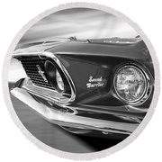 Breaking The Sound Barrier - Mach 1 428 Cobra Jet Mustang In Black And White Round Beach Towel