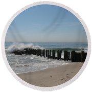 Breakwater At New Jersey Shore Round Beach Towel
