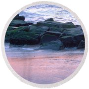 Breakwater Rocks At Sunset Beach Cape May Round Beach Towel