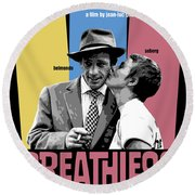 Breathless Movie Poster Round Beach Towel
