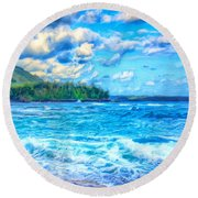 Breezy Hawaii Morning Round Beach Towel
