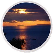 Brela Sunset Croatia Round Beach Towel