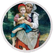 Breton Brother And Sister Round Beach Towel