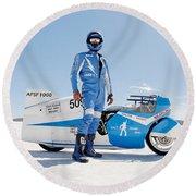 Brett De Stoop And His Suzuki Gt 750 Round Beach Towel