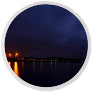 Brewer Yacht Yard At Cowesett Rhode Island Blue Hour Round Beach Towel